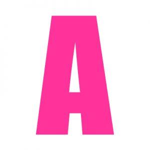 pink wheelie bin letter a
