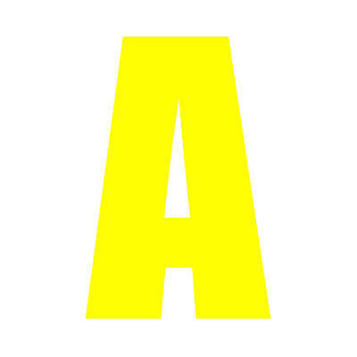 Yellow Wheelie Bin Letter A