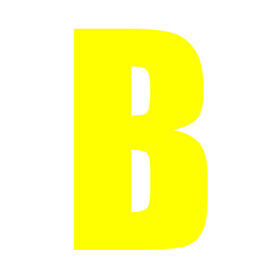 Yellow Wheelie Bin Letter B