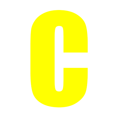 Yellow Wheelie Bin Letter C