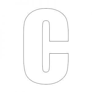 reflective wheelie bin letter c