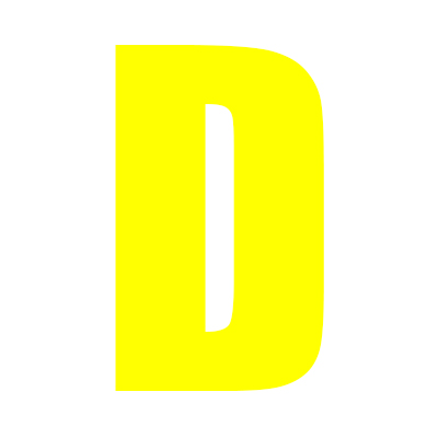 Yellow Wheelie Bin Letter D