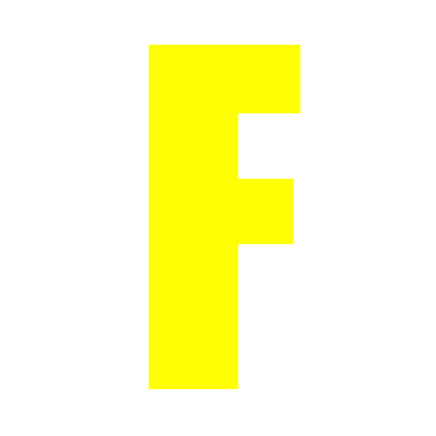Yellow Wheelie Bin Letter F