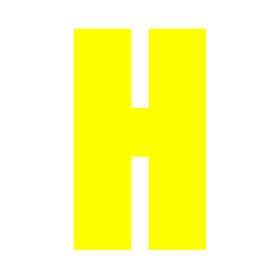 Yellow Wheelie Bin Letter H