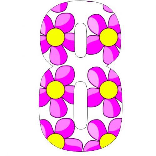 Pink Flower Bin Number