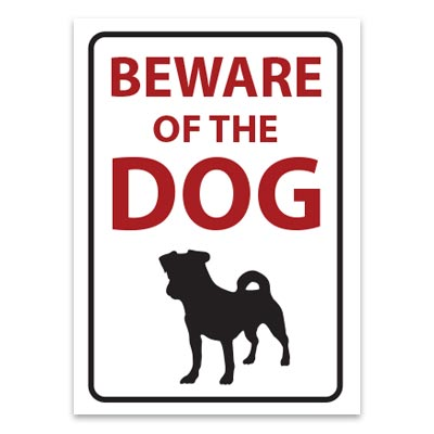Beware of the dog Terrier sticker